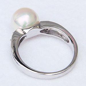 花珠真珠 リング パールリング 真珠指輪 あこや本真珠 大珠 9mm パール 純プラチナ PT999