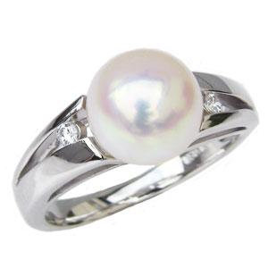 パールリング 花珠真珠 指輪 あこや本真珠 花珠 9mm 大珠 リング プラチナダイヤモンド