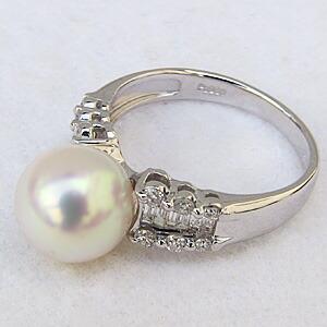 花珠真珠 パー リング あこや本真珠 大珠9mm 花珠 指輪 純プラチナ PT999 ダイヤモンド