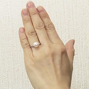あこや本真珠 指輪 アコヤパールリング PT900 プラチナ ダイヤモンド 6月誕生石 ダイヤ ダイアモンド