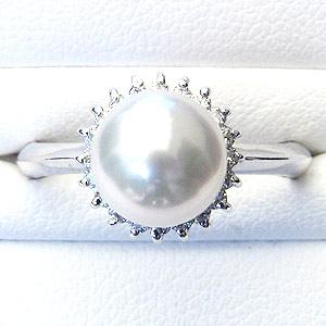 真珠:パール:リング:あこや本真珠:指輪:ピンクホワイト系:8mm:ホワイトゴールド:K18WG:18金:冠婚葬祭