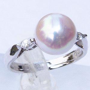 真珠:パール:リング:あこや本真珠:ピンクホワイト系:9mm:PT900:プラチナ:ダイヤモンド:0.10ct:指輪