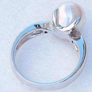 6月誕生石 リング パール 指輪 あこや真珠パールリング ワイトゴールド 指輪