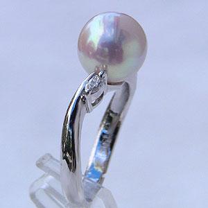 あこや本真珠:リング:ダイヤモンド0.10ct