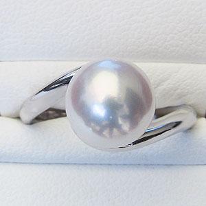 真珠パール リング あこや本真珠 指輪 K10WG ホワイトゴールド 真珠の径9mmピンクホワイト系  リング  指輪 6月誕生石