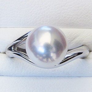 真珠パール リング あこや本真珠 指輪 K10WG ホワイトゴールド 真珠の径 9mm 指輪 リング 6月誕生石