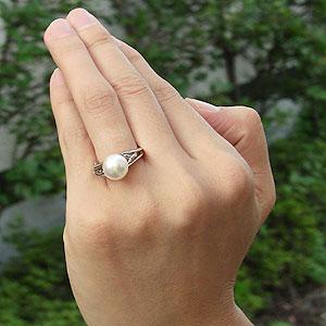 真珠:パール:リング:あこや本真珠:指輪:ピンクホワイト系:9mm:プラチナ:PT900:冠婚葬祭