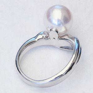 真珠:パール:リング:あこや本真珠:指輪:ピンクホワイト系:9mm:ホワイトゴールド:K18WG:18金:冠婚葬祭