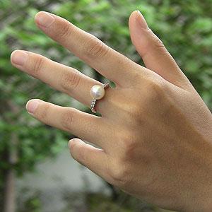 あこや本真珠:リング:ピンクホワイト系:9mm:PT:プラチナ:900