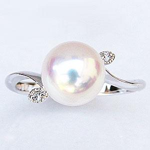 真珠:パール:リング:あこや本真珠:ピンクホワイト系:9mm:PT900:プラチナ:ダイヤモンド:0.02ct:指輪