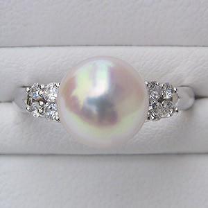 あこや本真珠:リング:ダイヤモンド:0.17ct:パール:ピンクホワイト系:9mm:PT:プラチナ:900:指輪(アコヤ本真珠)