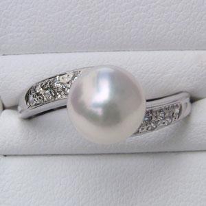 リング パール 指輪 あこや真珠パールリング K10ホワイトゴールド ダイヤモンド リング