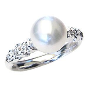 リング パール 指輪 あこや真珠パールリング K10ホワイトゴールド ダイヤモンド ジュエリー