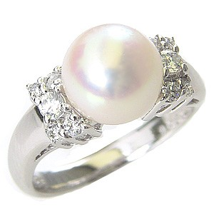 花珠真珠 パール リング 真珠 指輪 純プラチナPT999 あこや本真珠 大珠9mm ダイヤモンド ブライダル リング