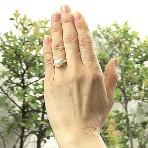 花珠真珠 パール リング 真珠 指輪 大珠 9mm あこや本真珠 PT900 プラチナ ダイヤモンド ブライダル リング