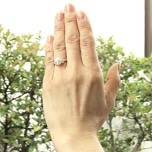 花珠真珠 パールリング 真珠指輪 大珠9mm あこや本真珠 純プラチナ PT999 ダイヤモンド 0.36ct ブライダルリング