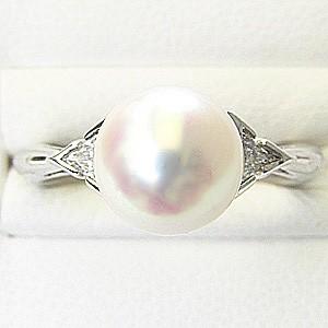 花珠真珠 パールリング 真珠指輪 あこや本真珠 花珠パール 純プラチナ PT999 ダイヤモンド