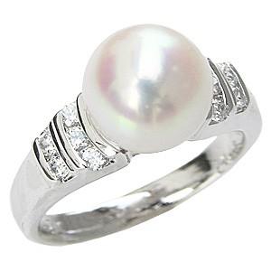 パールリング 花珠真珠 真珠指輪 花珠あこや本真珠 純プラチナ PT999 リング ダイヤモンド0.20ct