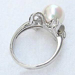 真珠パール リング あこや本真珠 指輪 PT900 プラチナ 真珠の直径9mm ピンクホワイト系 ダイヤモンド 6石 0.21ct 指輪 6月誕生石