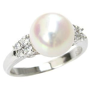 花珠真珠 パールリング 真珠指輪 あこや本真珠 9mm 大珠 純プラチナ PT999 ダイヤモンド