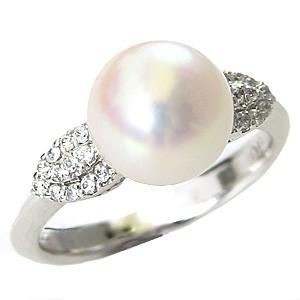 花珠 パールリング 花珠真珠 指輪 あこや本真珠 9mm 大珠 純プラチナ PT999 ダイヤモンド
