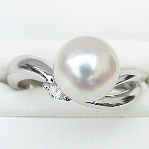 花珠真珠 パールリング 真珠指輪 花珠あこや本真珠 プラチナ PT900 リング ダイヤモンド