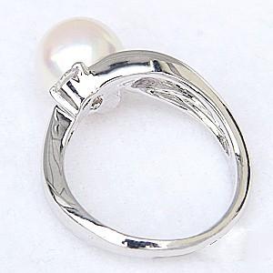 花珠真珠 パールリング 真珠指輪 花珠あこや本真珠 純プラチナ PT999 リング ダイヤモンド 0.05ct