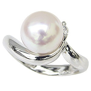 真珠パール リング あこや本真珠 指輪 K18WG ホワイトゴールド 真珠の直径9mm ピンクホワイト系 ダイヤモンド 1石 0.05ct 指輪 6月誕生石