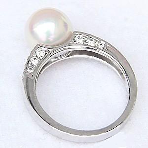 真珠パール リング あこや本真珠 指輪 K18WG ホワイトゴールド 真珠の直径9mm ピンクホワイト系 ダイヤモンド 18石 0.37ct 指輪 6月誕生石