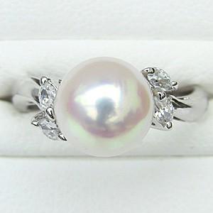 真珠パール リング あこや本真珠 指輪 K18WG ホワイトゴールド 真珠の直径9mm ピンクホワイト系 ダイヤモンド 4石 0.20ct 指輪 6月誕生石