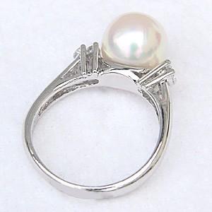 花珠真珠 パールリング 真珠指輪 大珠9mm あこや本真珠 純プラチナ PT999 ダイヤモンド 0.20ct ブライダルリング