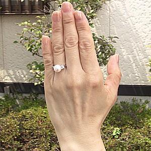 花珠真珠 ブライダル リング パール 指輪 あこや真珠パール PT900プラチナリング ダイヤモンド