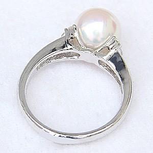 真珠パール リング あこや本真珠 指輪 K18WG ホワイトゴールド 真珠の直径9mm ピンクホワイト系 ダイヤモンド 6石 0.14ct 指輪 6月誕生石