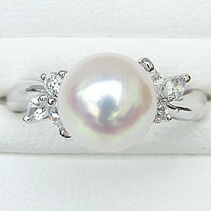 真珠パール リング あこや本真珠 指輪 K18WG ホワイトゴールド 真珠の直径9mm ピンクホワイト系 ダイヤモンド 6石 0.21ct 指輪 6月誕生石