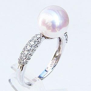 真珠:指輪:パール:リング:あこや本真珠:8.5mm:ピンクホワイト系:ダイヤモンド:0.35ct:プラチナ:PT900