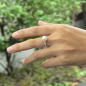 あこや本真珠:リング:ダイヤモンド0.22ct