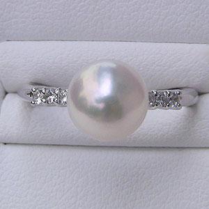 あこや本真珠:リング:ダイヤモンド0.12ct:パール