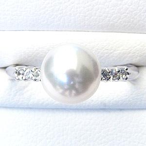 真珠:パール:リング:あこや本真珠:指輪:ピンクホワイト系:8mm:Pt900:プラチナ:冠婚葬祭