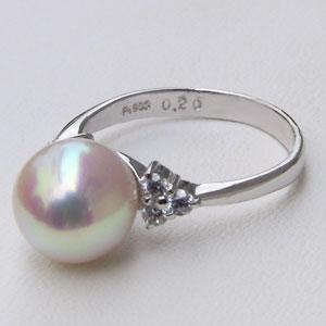 あこや本真珠:リング:ダイヤモンド:0.20ct:パール:ピンクホワイト系:9mm:PT:プラチナ:900:指輪(アコヤ本真珠)