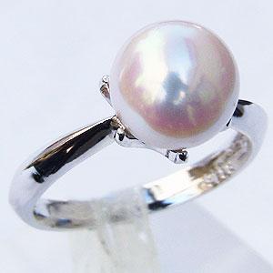 真珠:パール:リング:あこや本真珠:ピンクホワイト系:9mm:PT900:プラチナ:ダイヤモンドなし:指輪