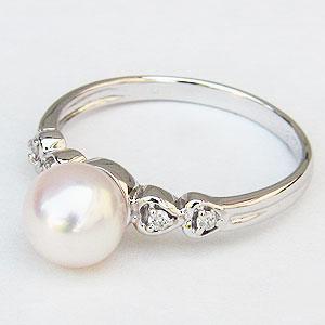 真珠:パール:リング:あこや本真珠:ピンクホワイト系:7mm:PT900:プラチナ:ダイヤモンド:0.05ct:指輪
