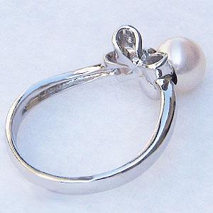 真珠:パール:リング:あこや本真珠:ピンクホワイト系:6mm:PT900:プラチナ:ダイヤモンド:0.02ct:指輪:リボン