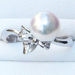 真珠:パール:リング:あこや本真珠:ピンクホワイト系:7mm:PT900:プラチナ:ダイヤモンド:0.02ct:指輪:リボン