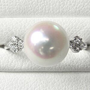 真珠パール リング あこや本真珠 指輪 PT900 プラチナ 真珠の直径9mm ピンクホワイト系 ダイヤモンド 4石 0.20ct 指輪 6月誕生石