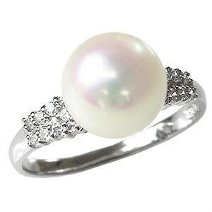 花珠真珠 パールリング  真珠 指輪 花珠 9mm パール 純プラチナPT999 リング ダイヤモンド