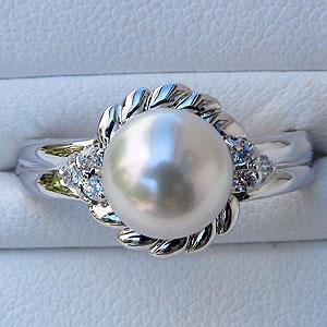 あこや本真珠:リング:ダイヤモンド:0.1ct:パール:ピンクホワイト系:8mm:プラチナ:PT900:指輪(アコヤ本真珠)