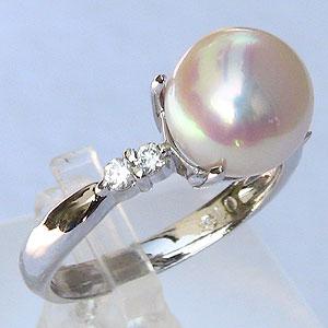 パール:真珠:リング:ダイヤモンド0.16ct