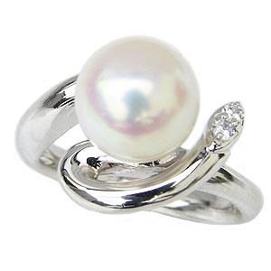 真珠パール リング あこや本真珠 指輪 PT900 プラチナ 真珠の直径9mm ピンクホワイト系 ダイヤモンド 2石 0.04ct 指輪 6月誕生石