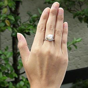 パール:リング:真珠:指輪:あこや本真珠:8.5mm:アコヤ:ダイヤモンド:0.10ct:K18WG:ホワイトゴールド