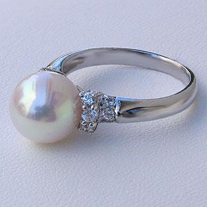 あこや本真珠:リング:ダイヤモンド:0.22ct:パール:ピンクホワイト系:9mm:PT:プラチナ:900:指輪(アコヤ本真珠)